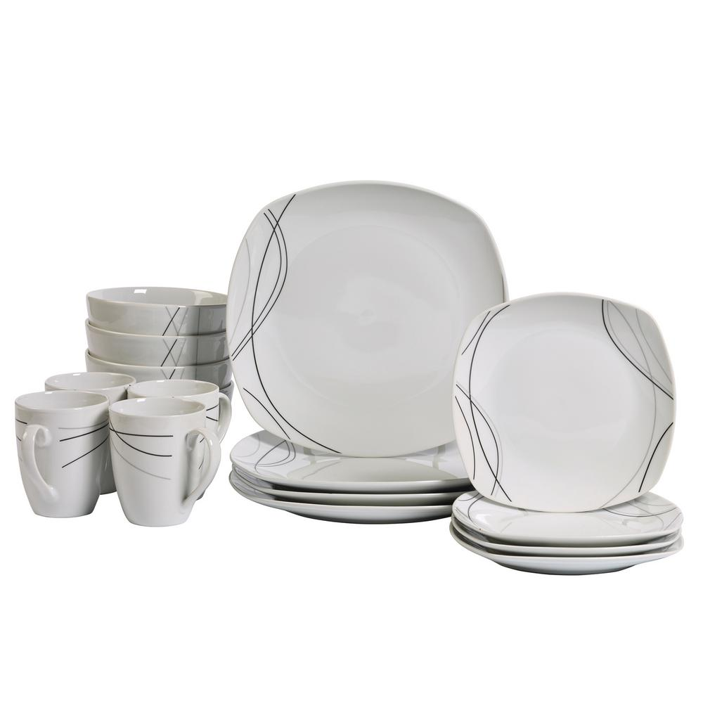 Superieur Tabletops Gallery Dinner Set 16 Piece White And Swirl Pattern Dinnerware  Set Alec