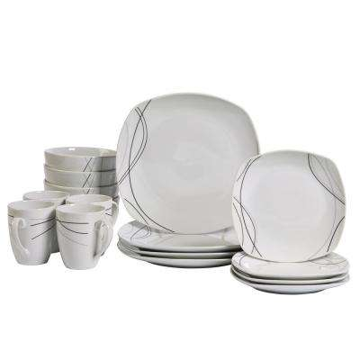 Dinner Set 16-Piece White and Swirl Pattern Dinnerware Set Alec