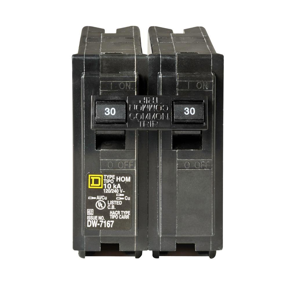 Circuit Breakers Power Distribution The Home Depot Arc Fault Interrupter Afci Ge Industrial Solutions Homeline 30 Amp 2 Pole Breaker
