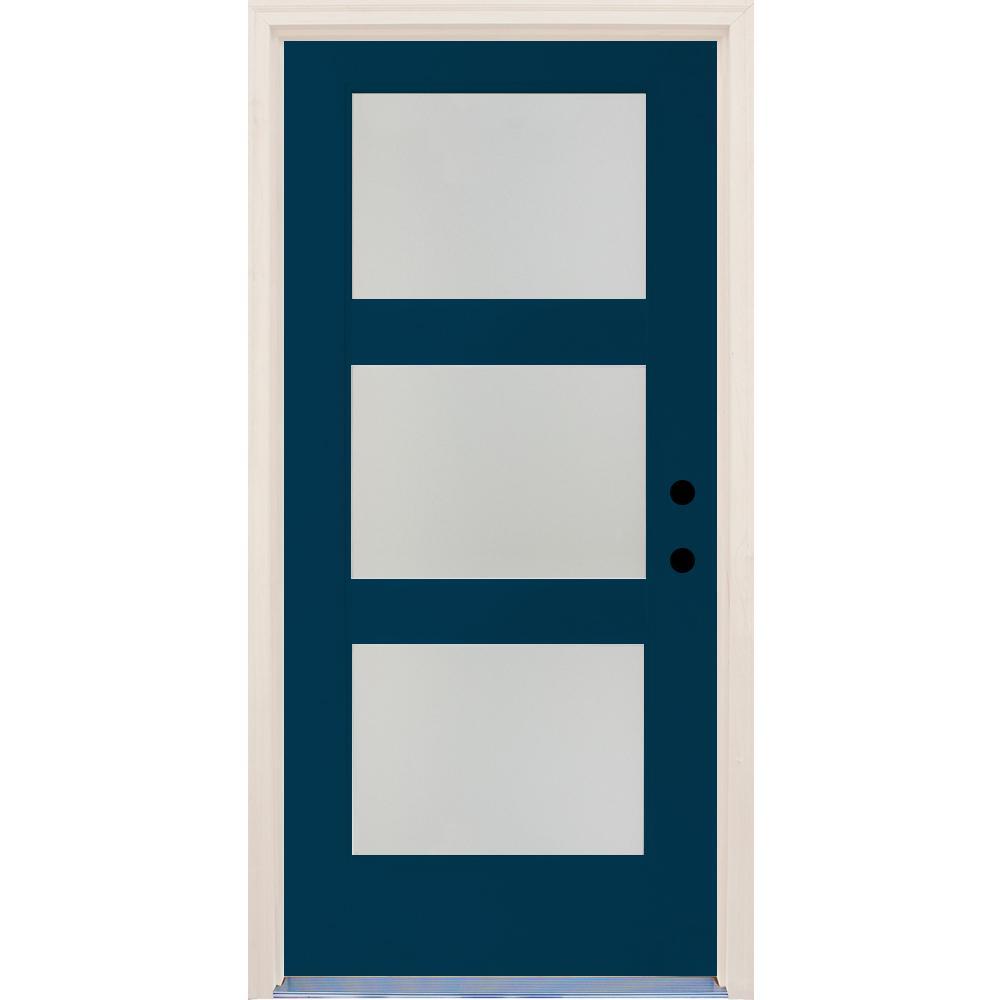 36 in. x 80 in. Elite Atlantis Etch Glass Contemporary Left-Hand 3 Lite Satin Painted Fiberglass Prehung Front Door