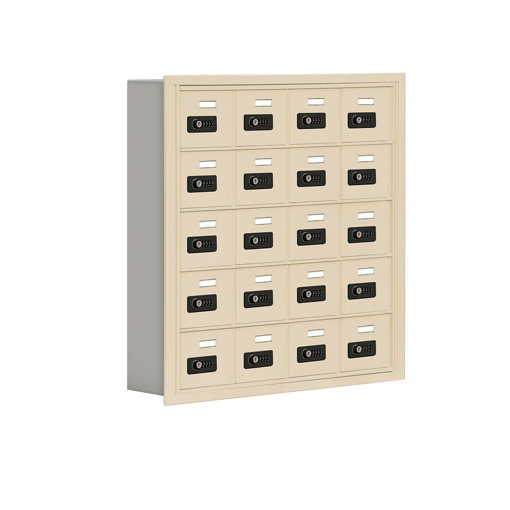 19000 Series 30.5 in. W x 31 in. H x 5.75 in. D 20 A Doors R-Mount Resettable Locks Cell Phone Locker in Sandstone