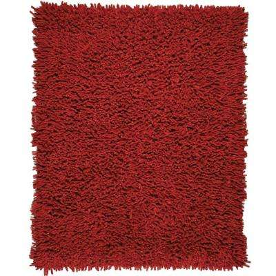 Crimson Red 8 ft. x 10 ft. Silky Shag Area Rug