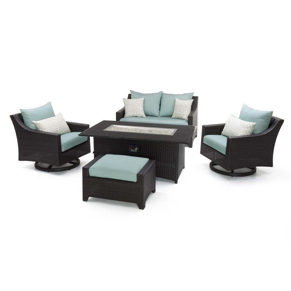 Motion Wicker Fire Pit Conversation Set Spa Blue Cushions
