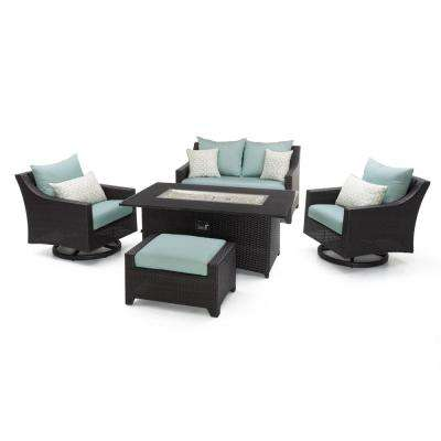 Deco Motion 5-Piece Wicker Patio Fire Pit Conversation Set with Sunbrella Spa Blue Cushions