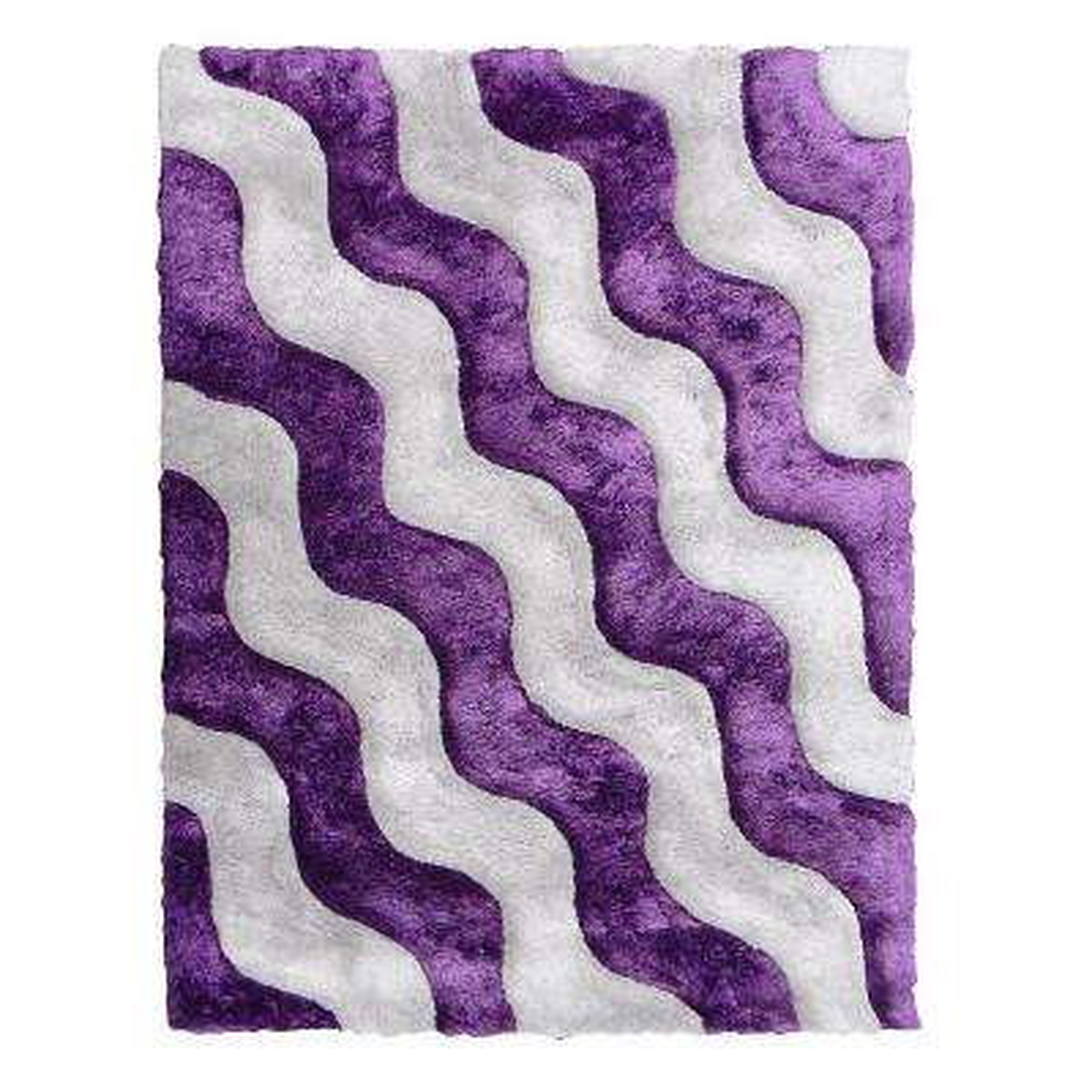 3D Shaggy Abstract 2-Tone Wavy Design Purple 5 ft. x 7 ft. Indoor Area Rug