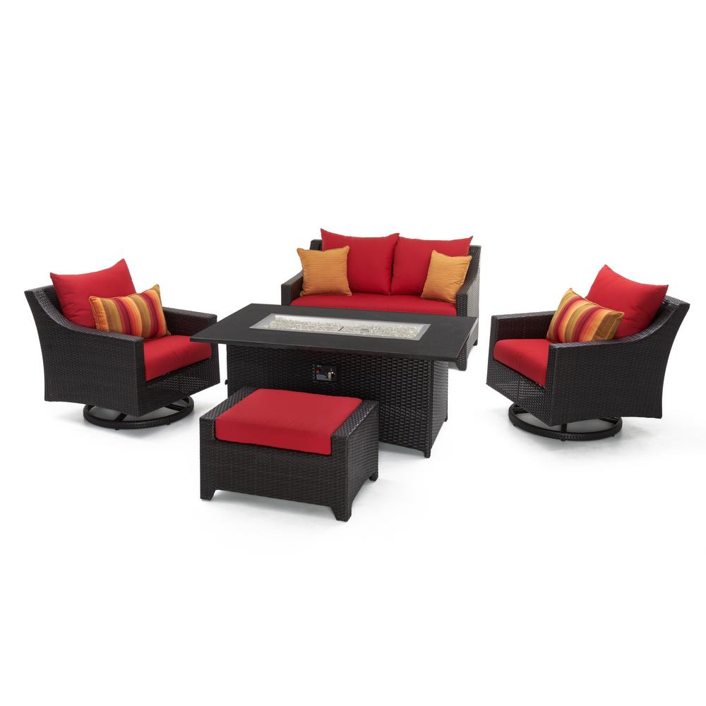 RST Brands Deco 5-Piece All-Weather Wicker Patio Love and Club Fire ...