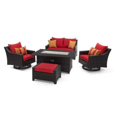Deco Motion 5 Piece Wicker Patio Fire Pit Conversation Set With Sunbrella  Sunset Red Cushions