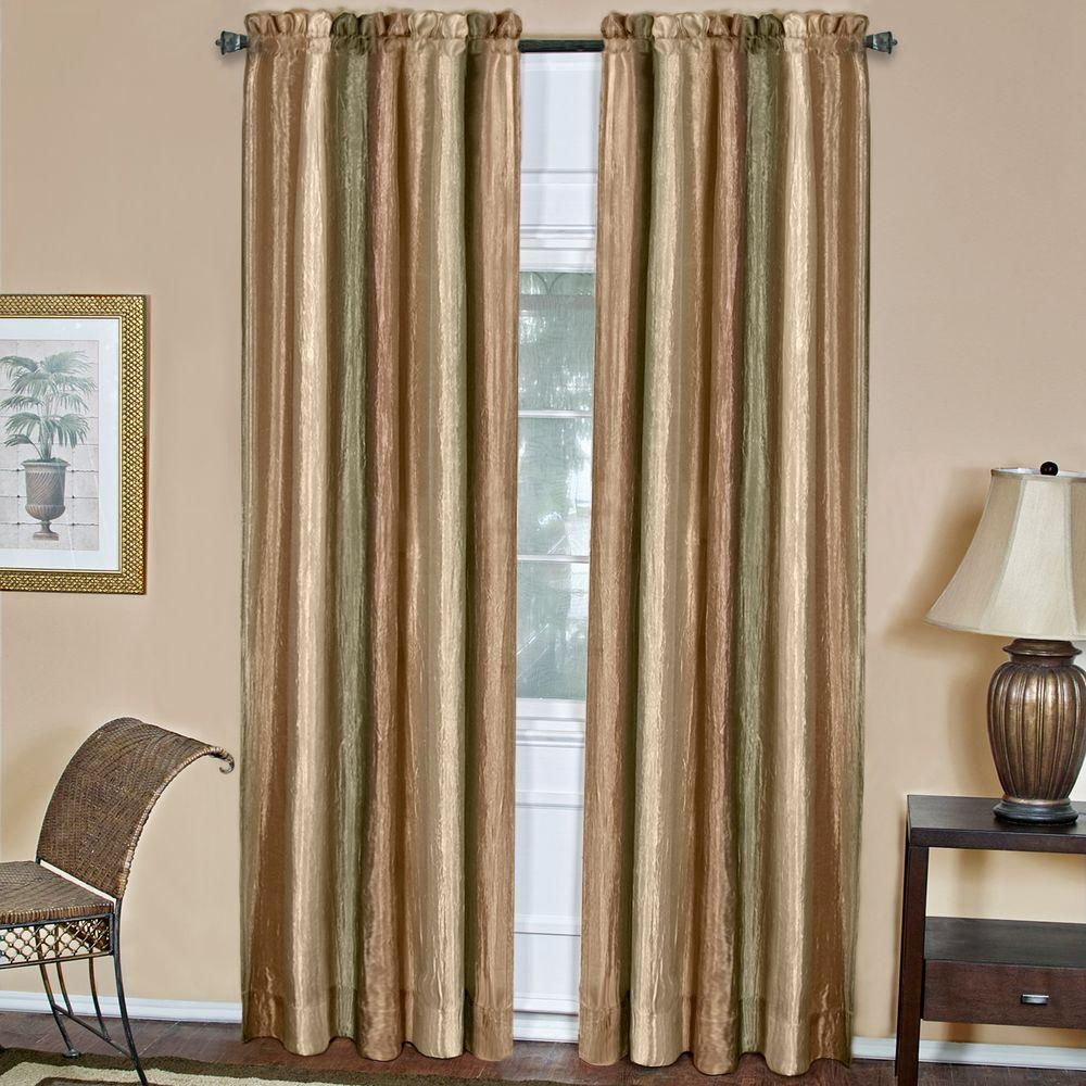 Achim Semi-Opaque Ombre Polyester 50 in. W x 63 in. L Curtain Panel in Earth