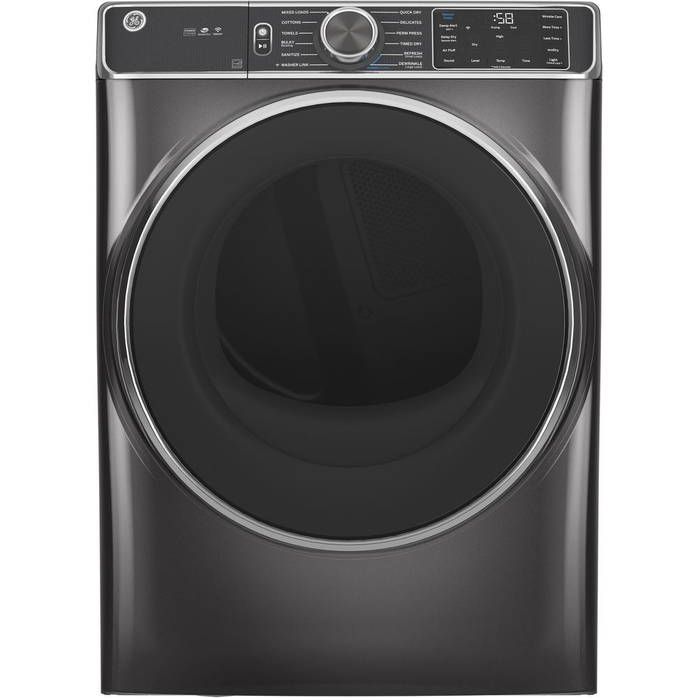 GE 7.8 cu. ft. Smart 240-Volt Diamond Gray Stackable Electric Vented Dryer with Steam and Sanitize Cycle, ENERGY STAR