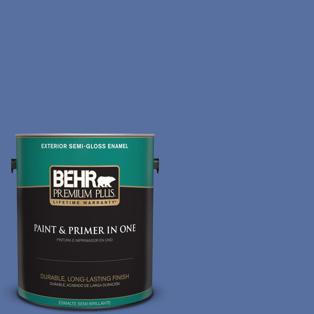 BEHR Premium Plus 1-gal. #PMD-23 Cobalt Flame Semi-Gloss Enamel Exterior Paint