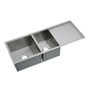 double kitchen sinks with drainboards elkay crosstown undermount stainless steel 47 in 8812