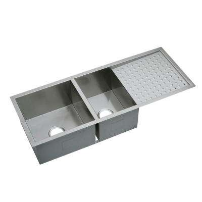 Crosstown Undermount Stainless Steel 47 in. Double Bowl Kitchen Sink