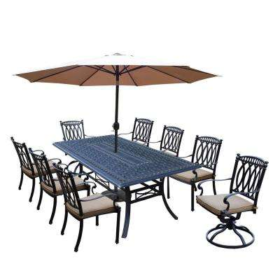 Morocco Aluminum 11-Piece Outdoor Dining Set with Sunbrella Beige Cushions and Champagne Umbrella