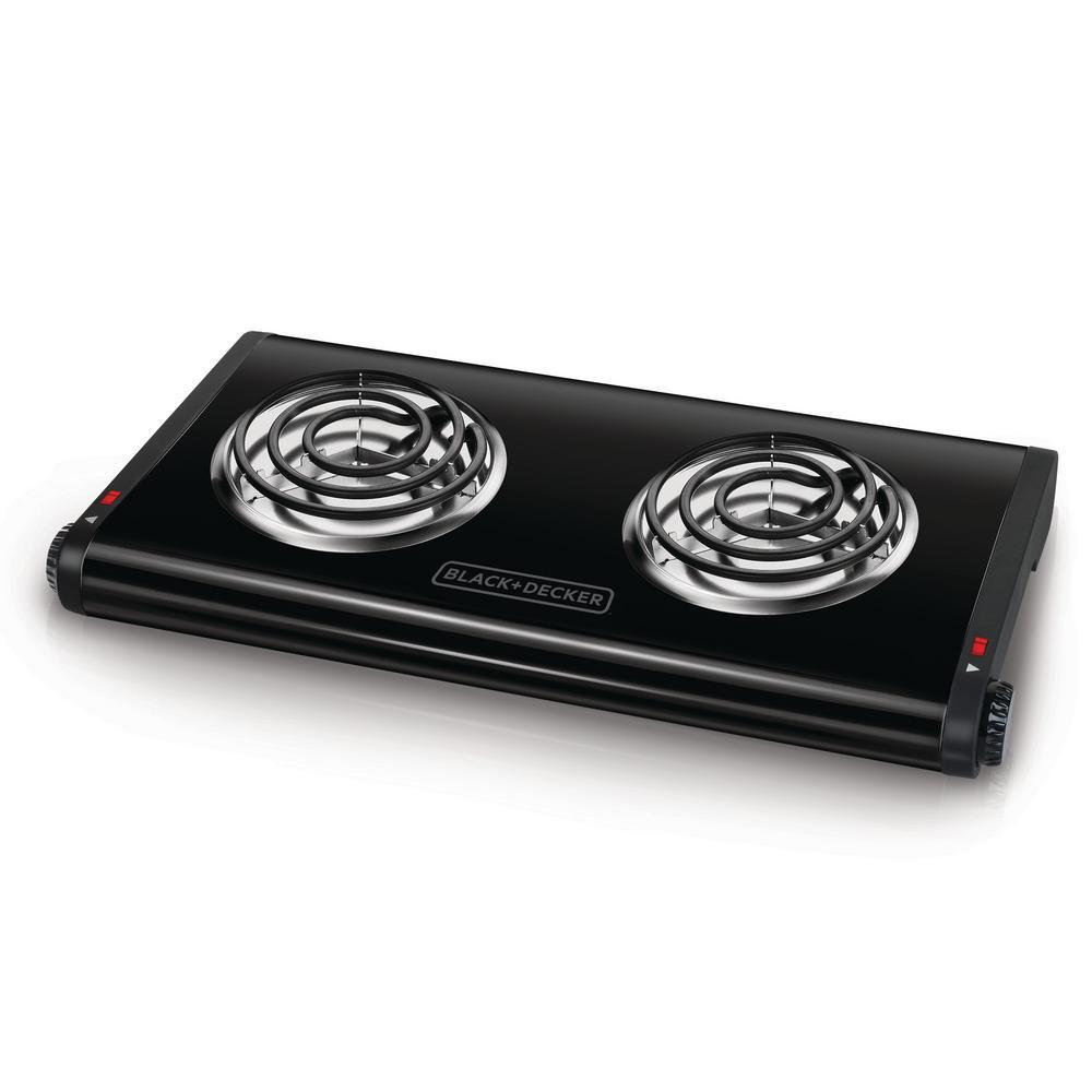 BLACK+DECKER 2-Burner 12 in. Black Hot Plate with Temperature Controls DB1002B