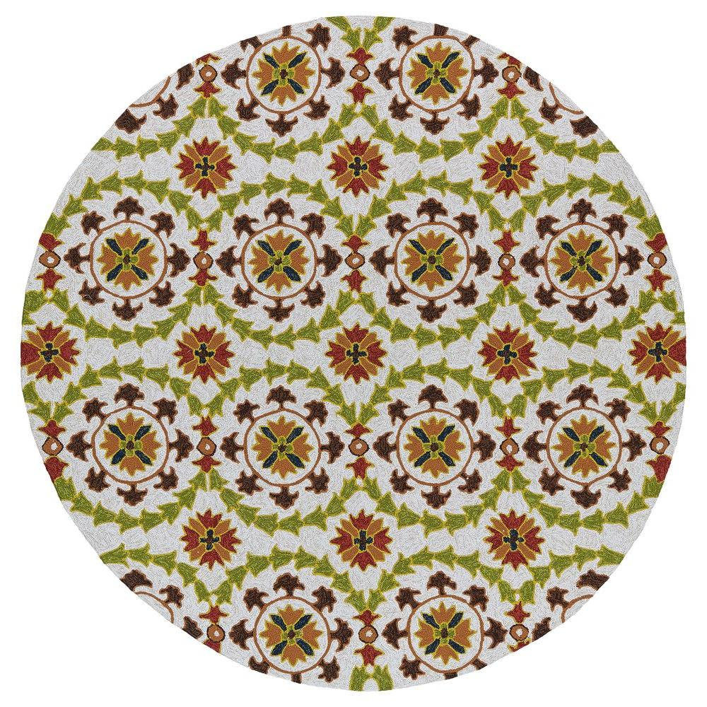 Kaleen Home and Porch Whimsy Brown 7 ft. 9 in. Indoor/Outdoor Round Area Rug