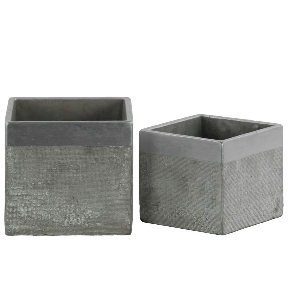 Gray Concrete Painted Cement Decorative Vase