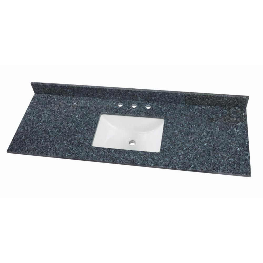Home Decorators Collection 61 in. W x 22 in. D Granite Single Sink Vanity Top in Blue Pearl with White Trough Sink