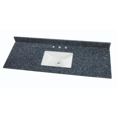 61 in. W x 22 in. D Granite Single Sink Vanity Top in Blue Pearl with White Trough Sink