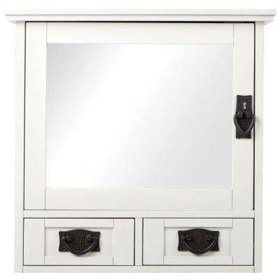 Artisan 23-1/2 in. W x 22-3/4 in. H x 8 in. D Bathroom Storage Wall Cabinet with Mirror in White