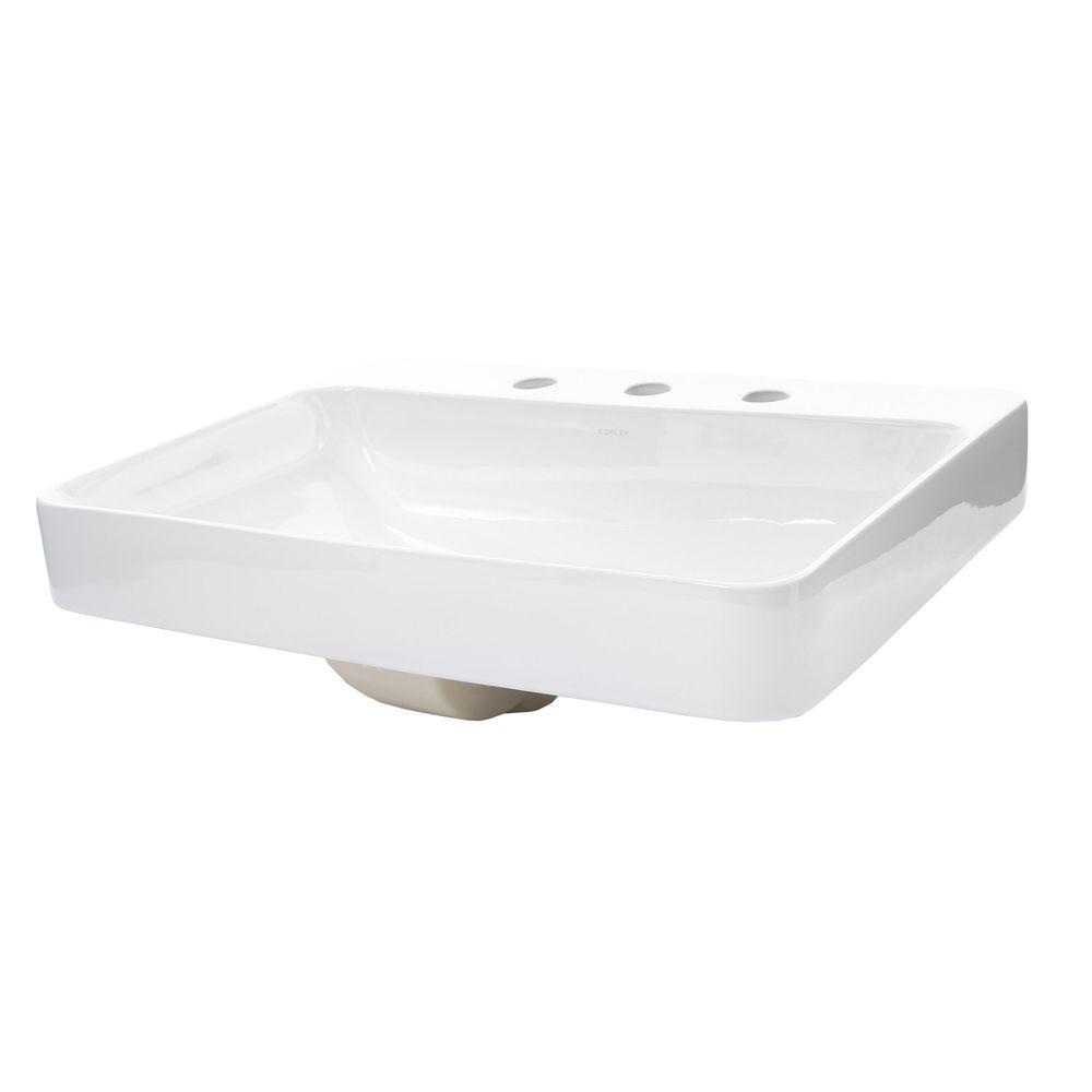 KOHLER Vox Above-Counter Vitreous China Bathroom Sink in White with Overflow Drain