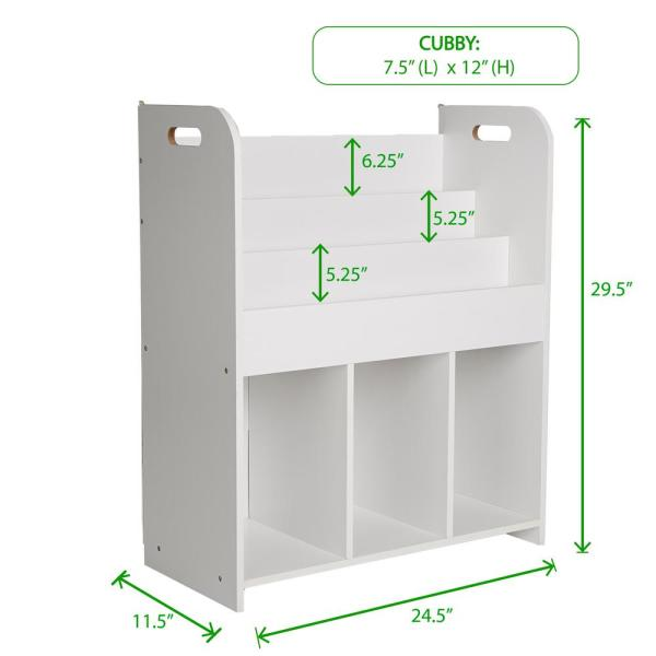 White Wood Book Shelf And Cubby