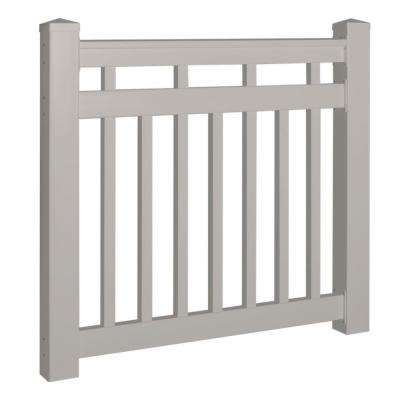 Hallandale 42 in. x 60 in. Vinyl Tan Gate Rail Kit