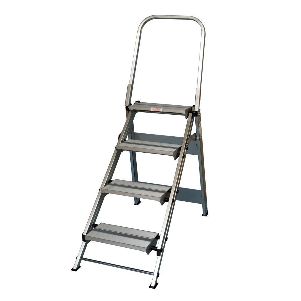 4 Step Aluminum Step Ladder 375 lb Load Capacity Type IAA Duty Rating
