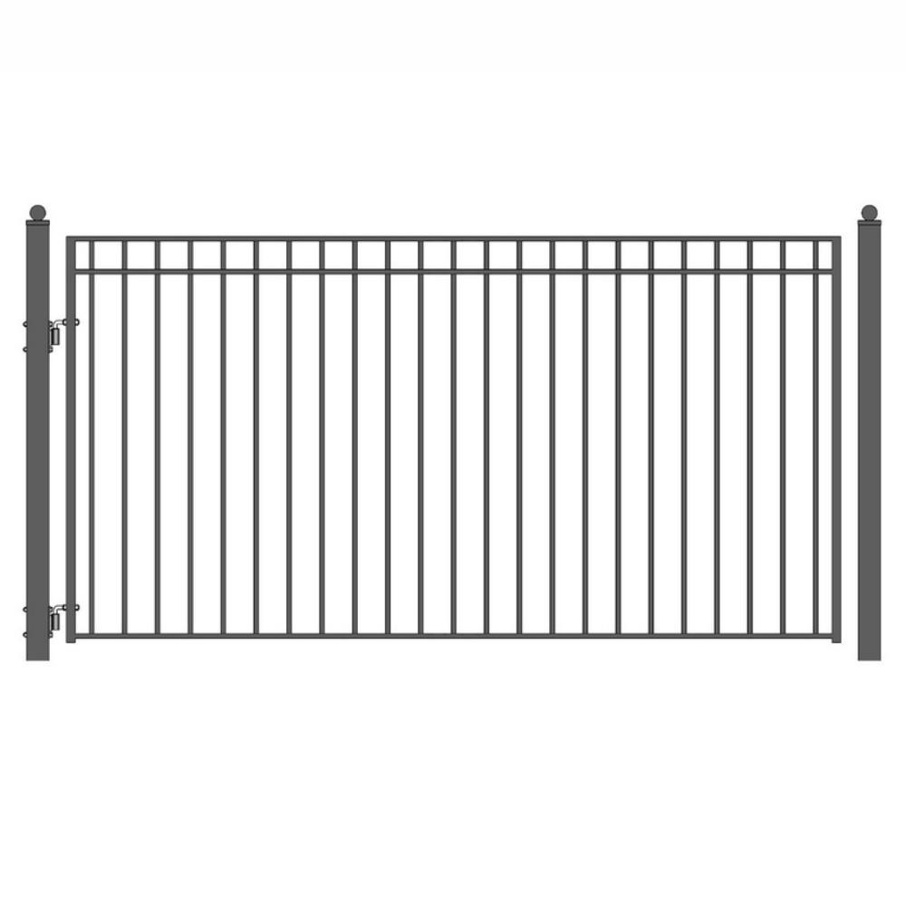 Madrid Style 12 ft. x 6 ft. Black Steel Single Swing Driveway Fence Gate