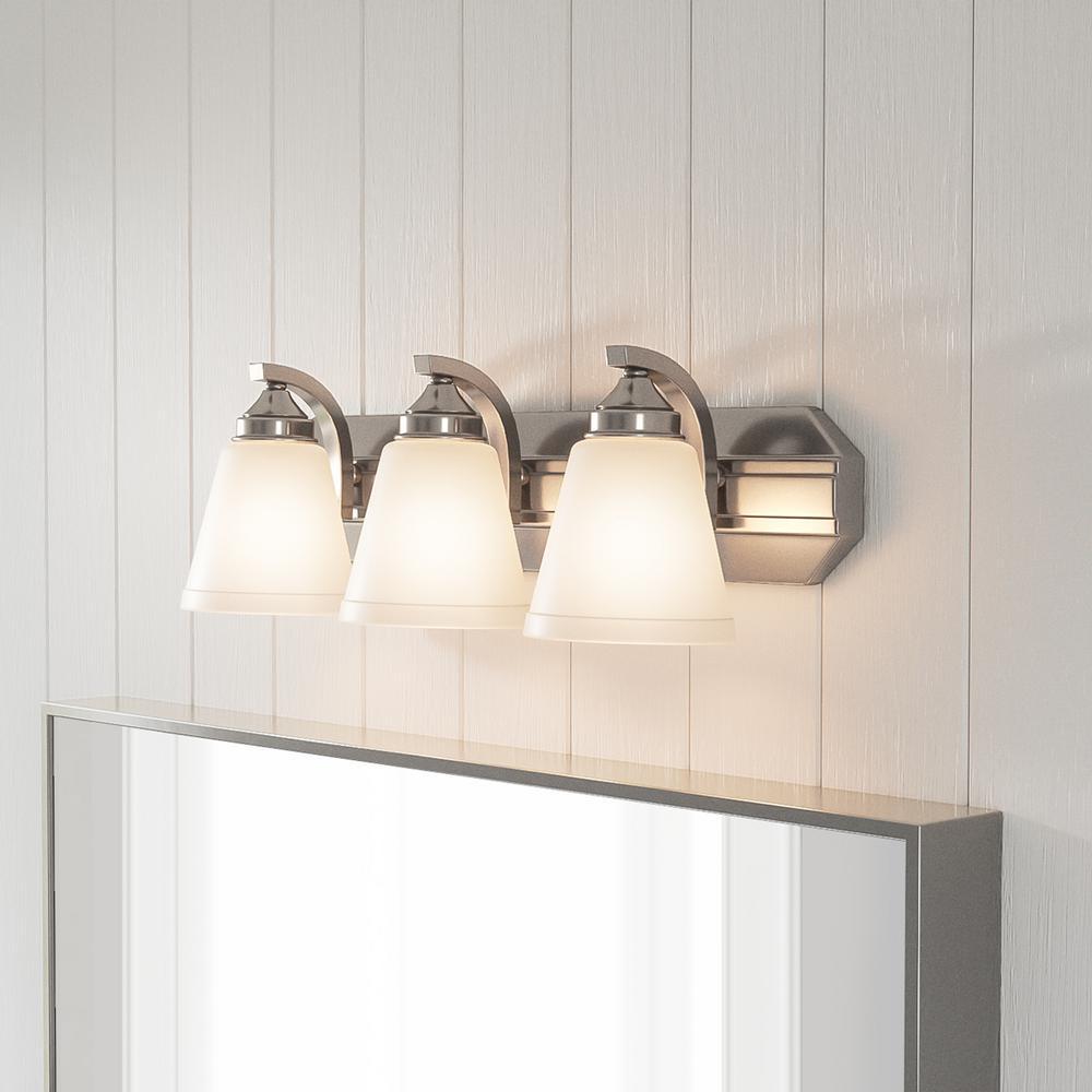 Tavish 3-Light Brushed Nickel Vanity Light with Frosted Shades