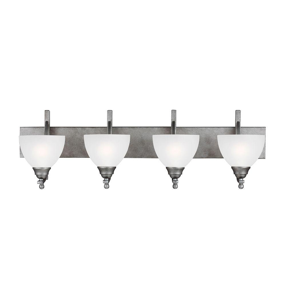 Sea Gull Lighting Vitelli 4-Light Weathered Pewter Wall/Bath Fixture with Satin Etched Glass