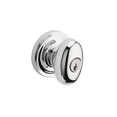 Reserve Ellipse Polished Chrome Entry Knob with Traditional Round Rose