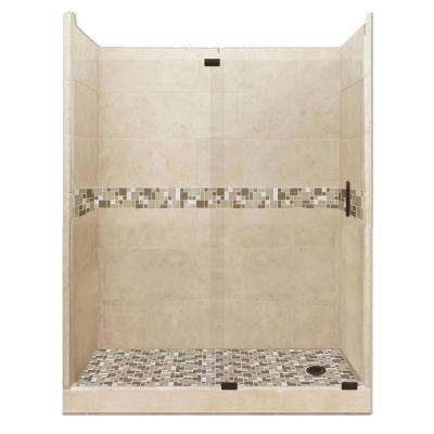 Tuscany Grand Slider 32 in. x 60 in. x 80 in. Right Drain Alcove Shower Kit in Brown Sugar and Old Bronze Hardware