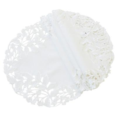 Victorian Lace 16 in. Taupe Embroidered Cutwork Round Doily (Set of 4)