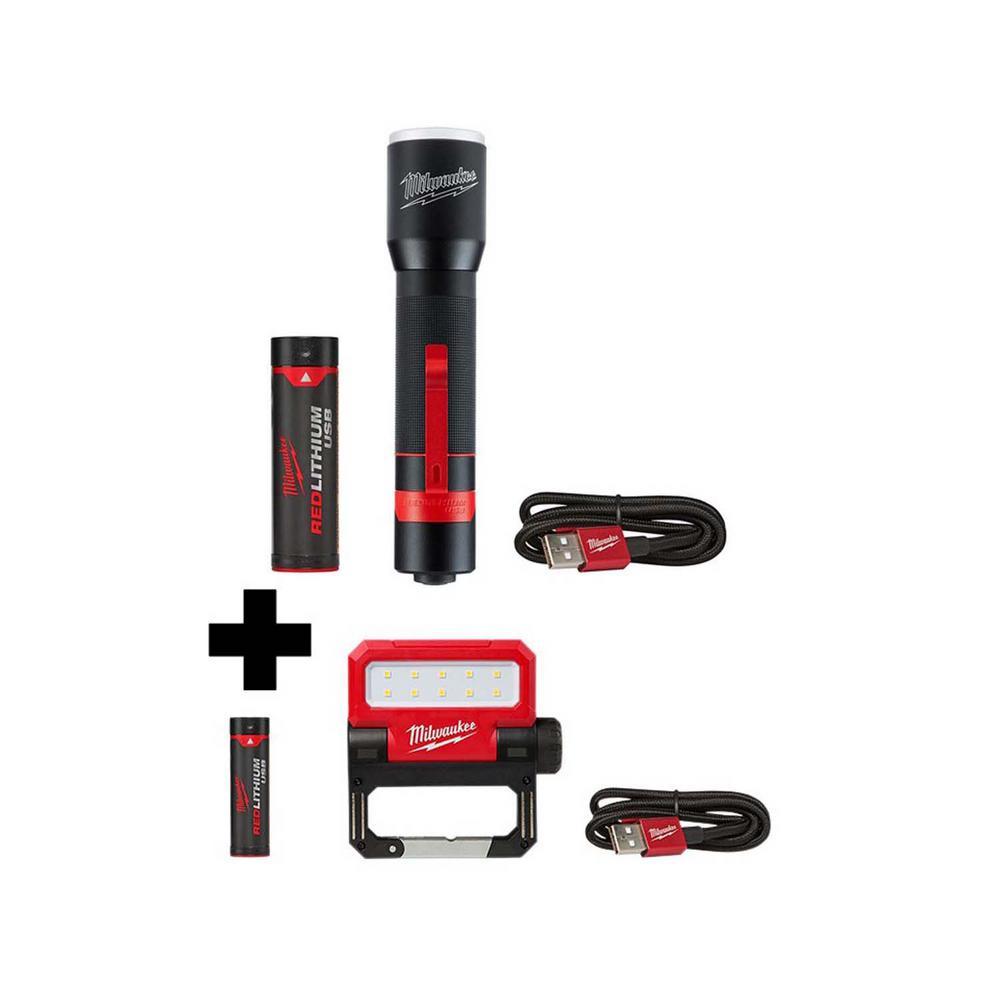700 Lumens LED Rechargeable Aluminum Flashlight and 550 Lumens LED Rechargeable Pivoting Flood Light (2-Pack)
