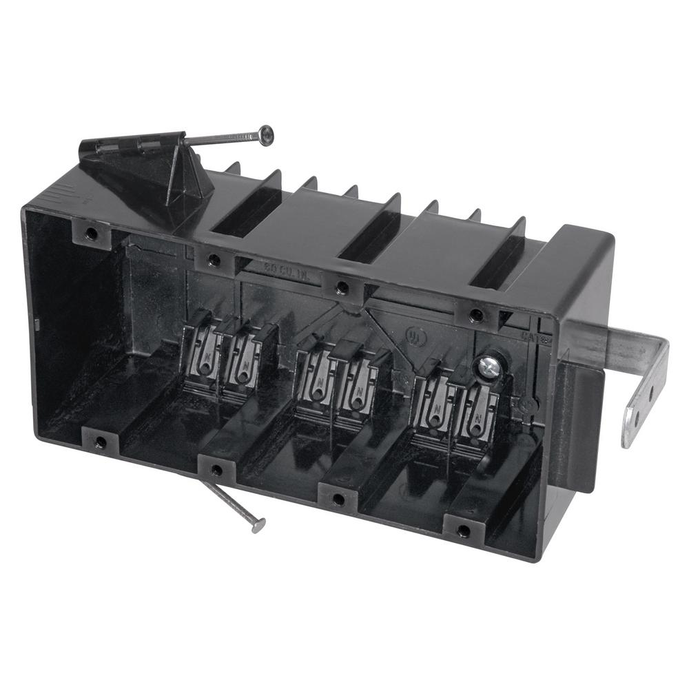 4-Gang 60 cu. in. Nail-On Outlet Box (Case of 10)