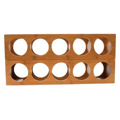 4.75 in. x 20.75 in. x 5.37 in. Bamboo 5 Bottle Stackable Wine Rack