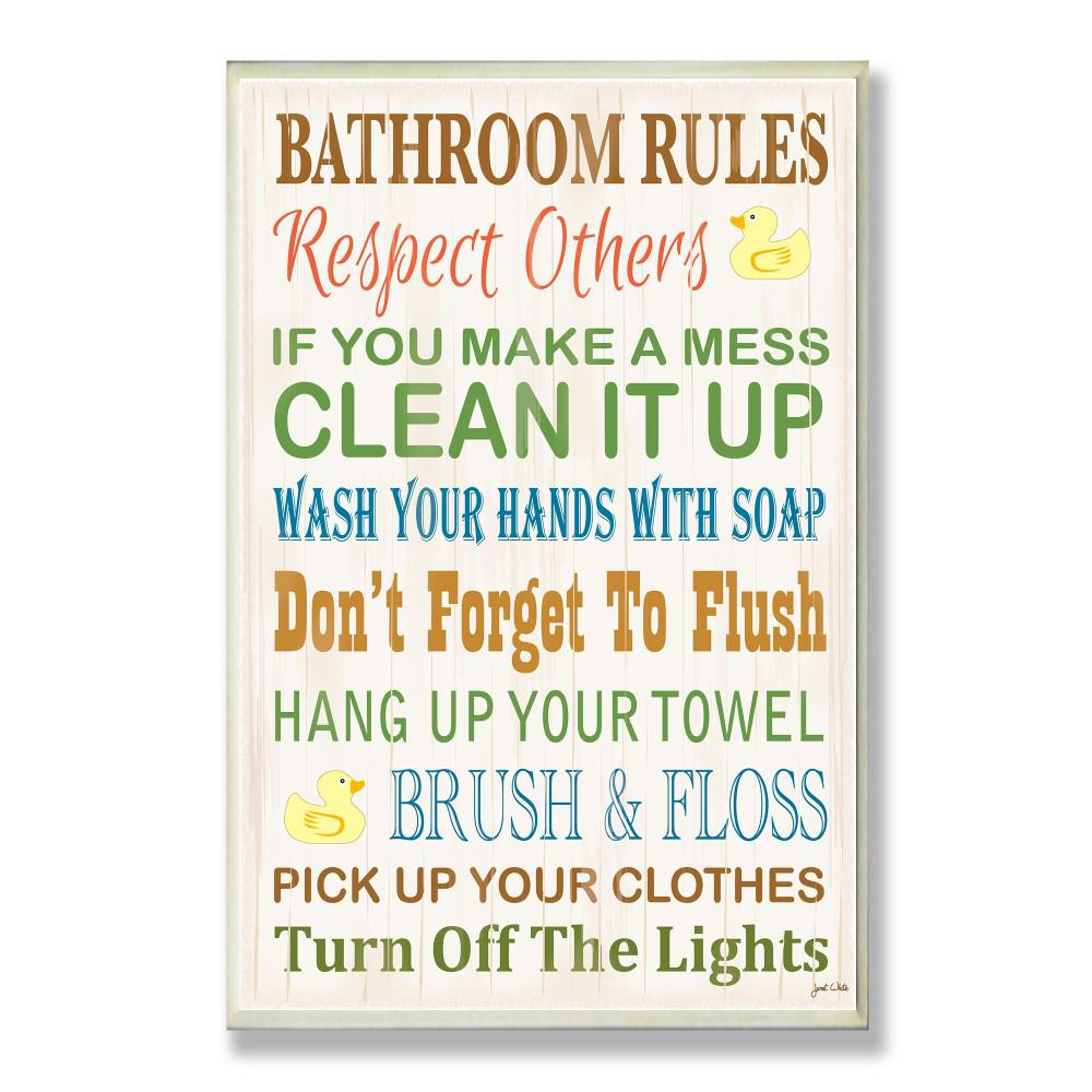 Stupell Industries 12 5 In X 18 5 In Bathroom Rules Typography Rubber Ducky By Janet White Printed Wood Wall Art Wrp 1036 Wd 13x19 The Home Depot