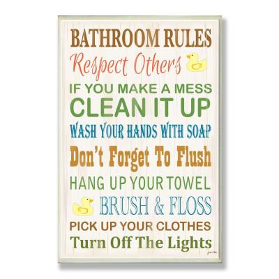"""12.5 in. x 18.5 in. """"Bathroom Rules Typography Rubber Ducky"""" by Janet White Printed Wood Wall Art"""
