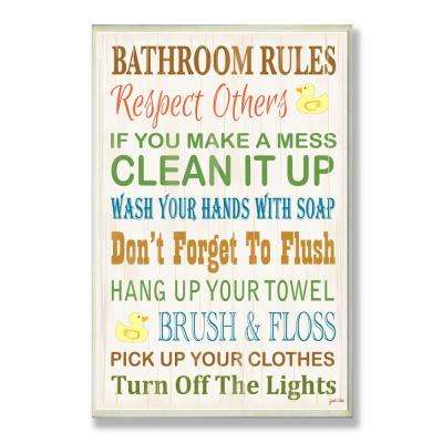 "12.5 in. x 18.5 in. ""Bathroom Rules Typography Rubber Ducky"" by Janet White Printed Wood Wall Art"