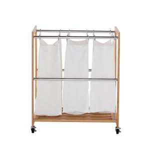 EcoStorage 3-Bag Rolling Bamboo Laundry Cart