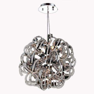 Medusa Collection 9-Light Polished Chrome Chandelier with Clear Crystal