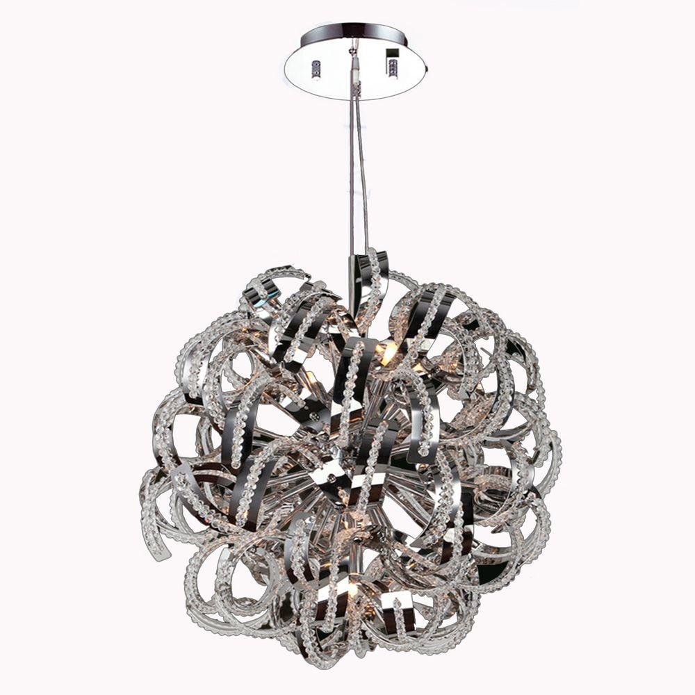 Worldwide Lighting Medusa Collection 9-Light Polished Chrome Chandelier with Clear Crystal