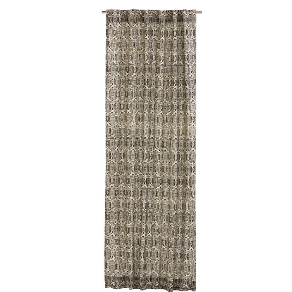 Home decorators collection printed burlap safari 50 in w x 84 in l curtain panel in black Home decorators collection valance