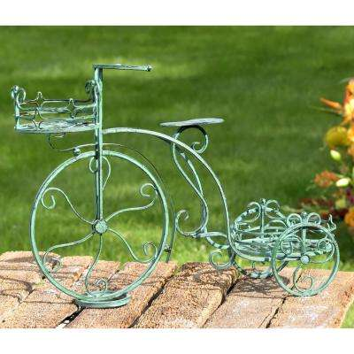 Antique Green Tricycle Planter with 2-Stands