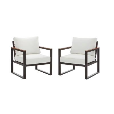 West Park Black Aluminum Outdoor Patio Lounge Chair w/ Bare Cushions (2-Pack)