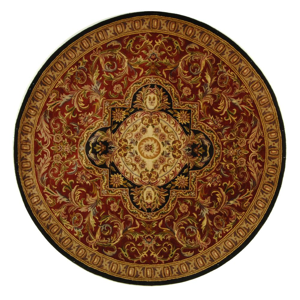 Classic Red/Black 8 ft. x 8 ft. Round Area Rug