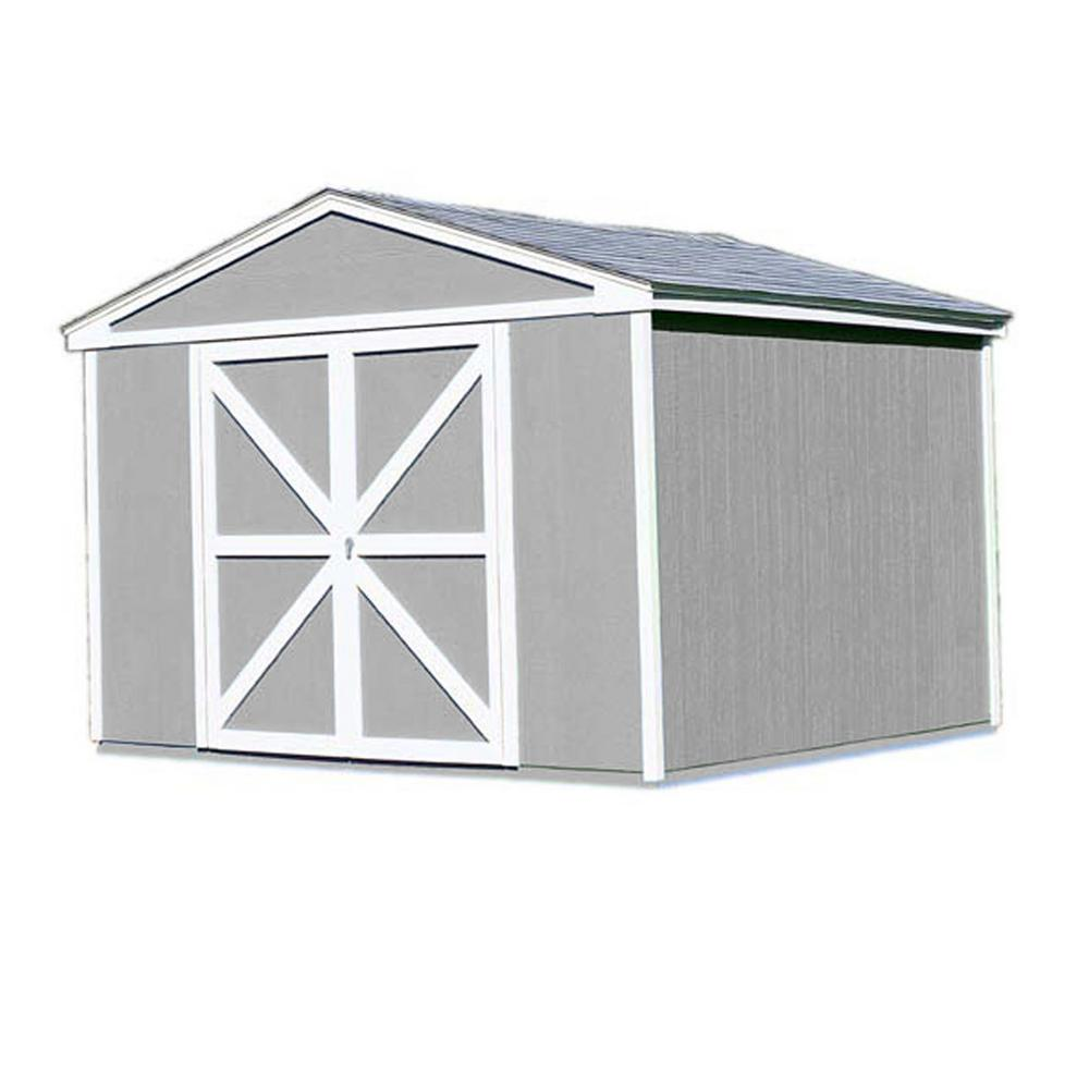 Handy Home Products Somerset 10 ft. x 10 ft. Wood Storage Building Kit with Floor