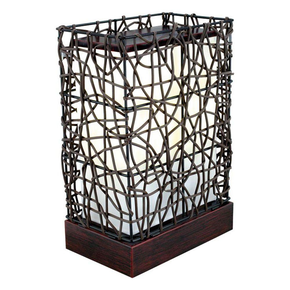 Eglo Shuko 14 in. 1-Light Outdoor Antique Brown Table Lamp