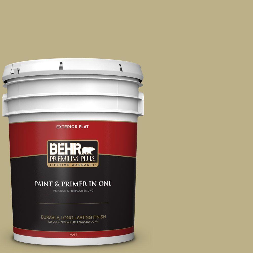 BEHR Premium Plus 5-gal. #390F-5 Ryegrass Flat Exterior Paint