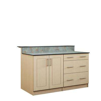 Palm Beach 59.5 in. Outdoor Bar Cabinets with Countertop 2 Full Height Doors and 3-Drawer in Sand